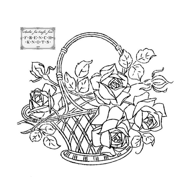 How To Draw A Basket Of Flowers : Rose basket embroidery pattern