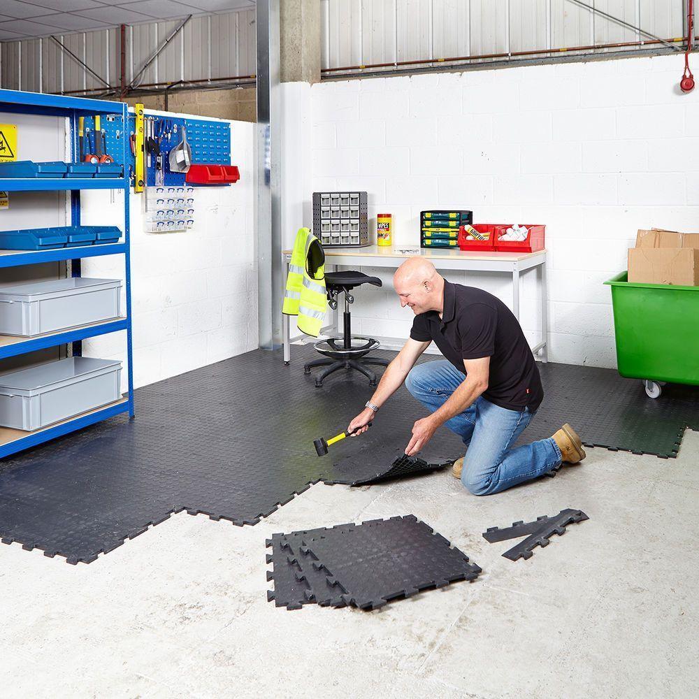 Garage Floor Tiles Interlocking Vinyl Flooring Heavy Duty Gym Schools Workshop Duty Fl In 2020 Interlocking Vinyl Flooring Garage Gym Flooring Garage Floor Tiles