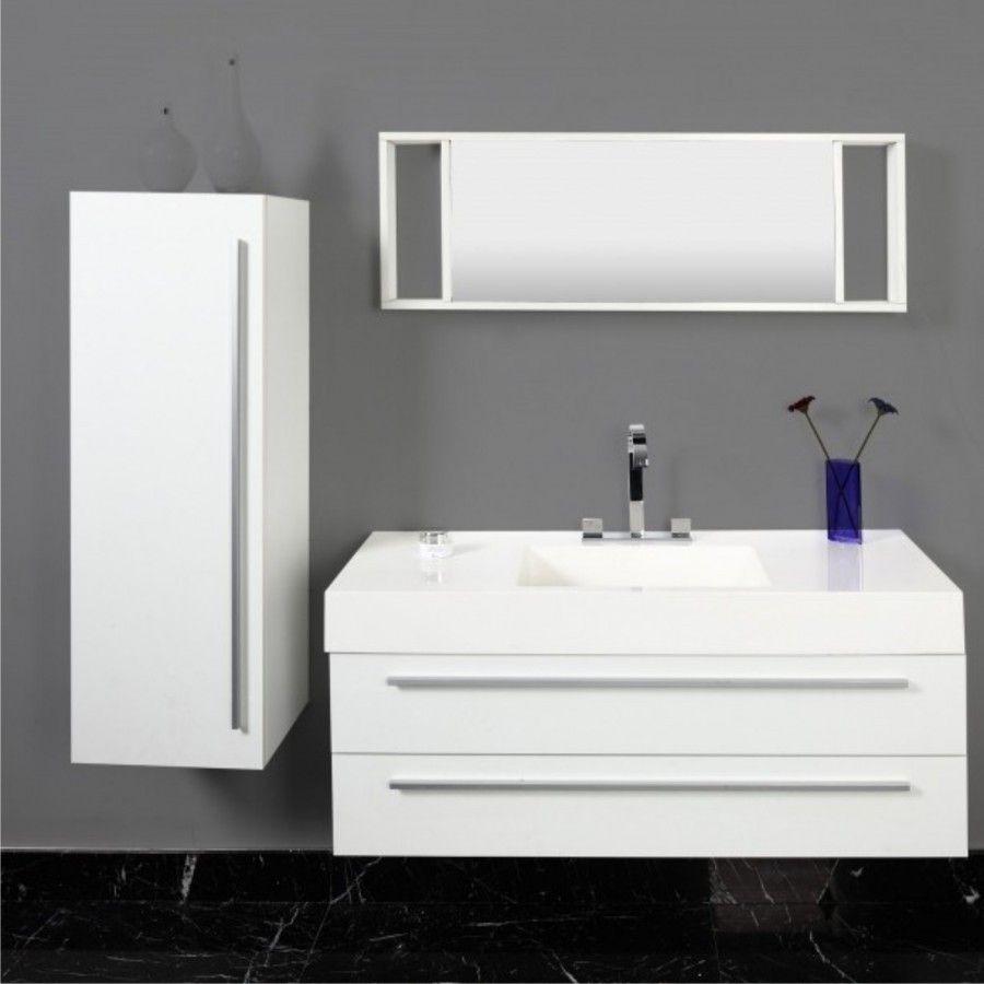Badezimmer Badmobel Set 3tlg Weiss Waschbecken Hochschrank Spiegel Bathroom Sets Basin White Design