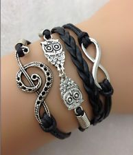 NEW Infinity Love Music shaped wedding Cute Charm Owl bracelet leather !!!!!