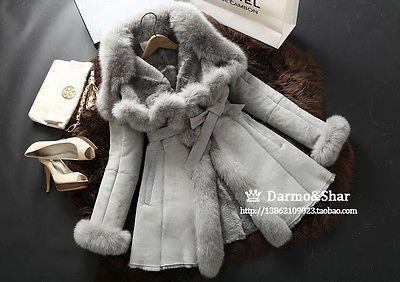 100-Echte-Lamm-Schafe-Pelz-Mantel-Jacke-Coat-Fuchs-Pelz-Sheared-Sheep-Fur-Warm