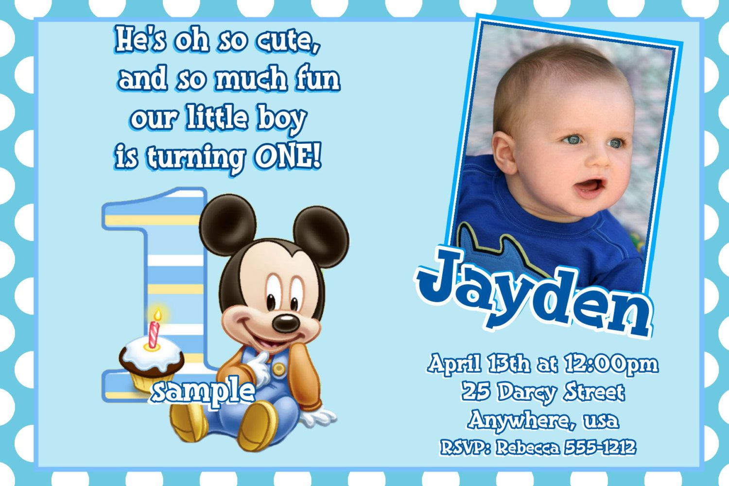 Invitation Wording For Mickey Mouse Party. Mickey Mouse 1st Birthday Invitations  Baby with cupcake topper