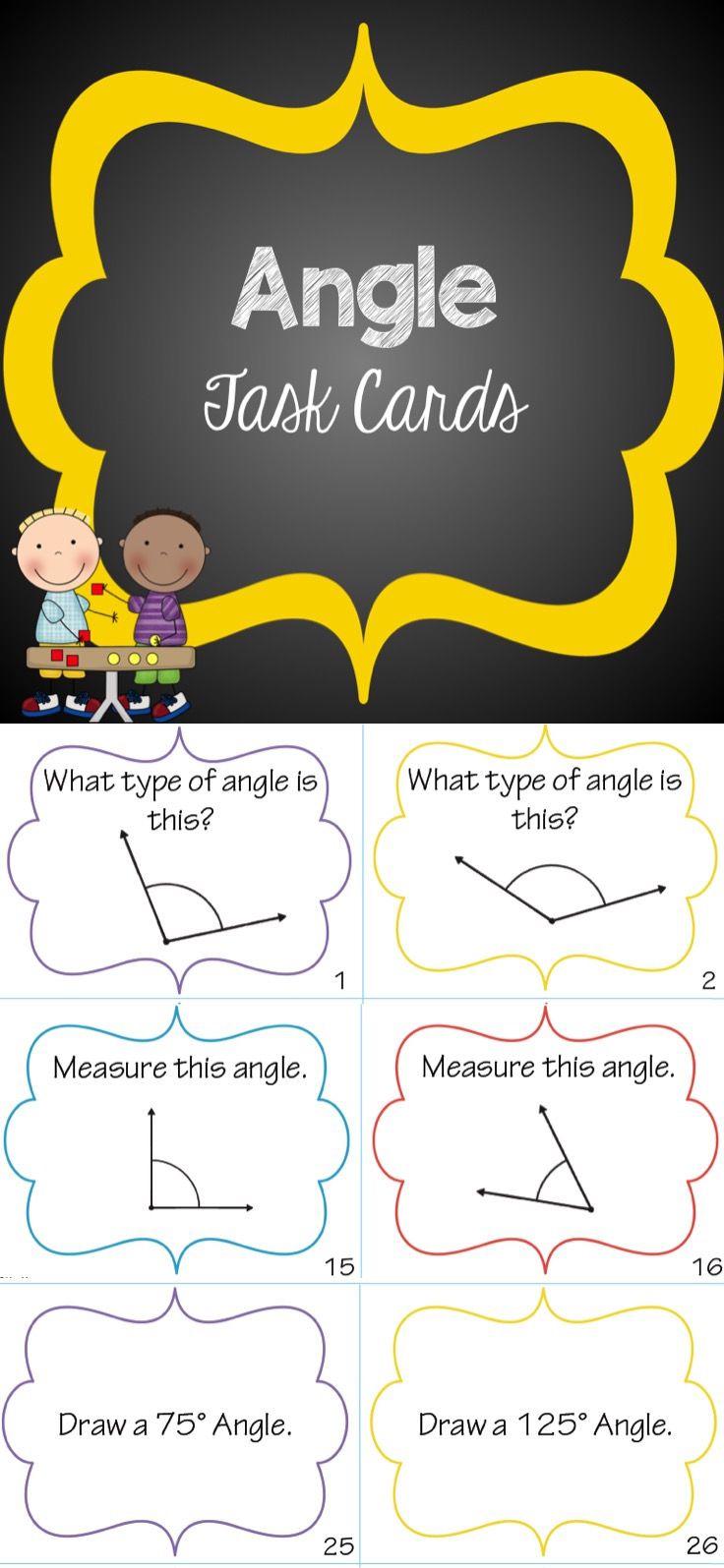 Angle Task Cards Task cards, Teaching math elementary