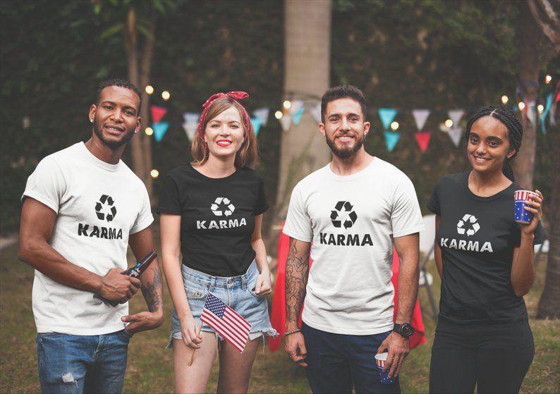 c3af1dfa2b5ee Karma Recycle T-Shirt, Reduce Reuse, Recycling Shirt, Environmental ...
