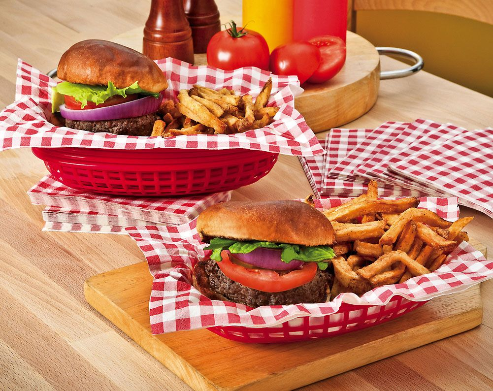 Diner Baskets And Liners For Serving Lunch At The Party Diner Party Diner Recipes Burger Party