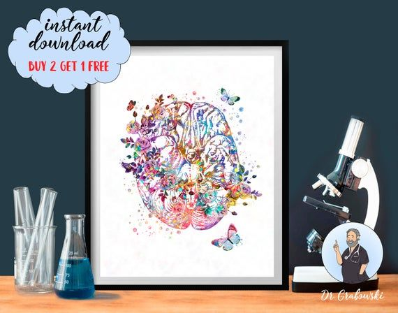 Brain Watercolor Art Neurology Print Anatomical Brain Neurologist Gift Clinic Decor Doctor Office Gift Medical Art Surgeon Gift Floral Brain #doctoroffice
