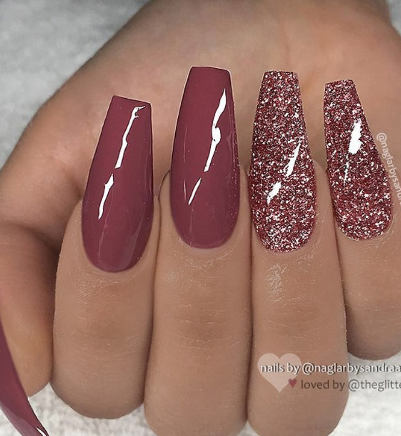 46 Elegant Acrylic Ombre Burgundy Coffin Nails Design For Short And Long Nails In 2020 Coffin Nails Long Coffin Nails Designs Trendy Nails