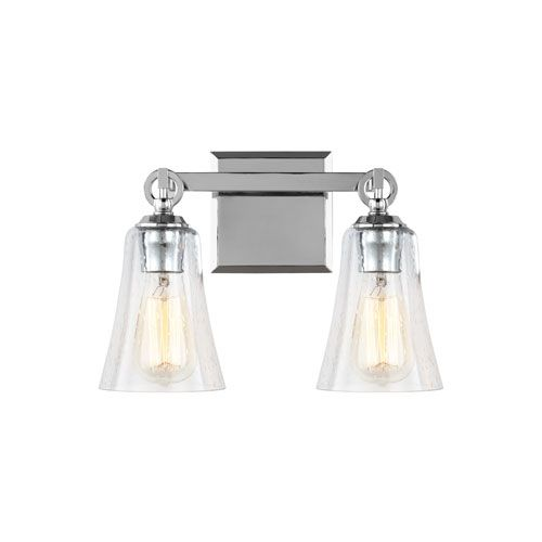 Monterro Chrome 14-Inch Two-Light Wall Bath Fixture with Clear Seeded Glass