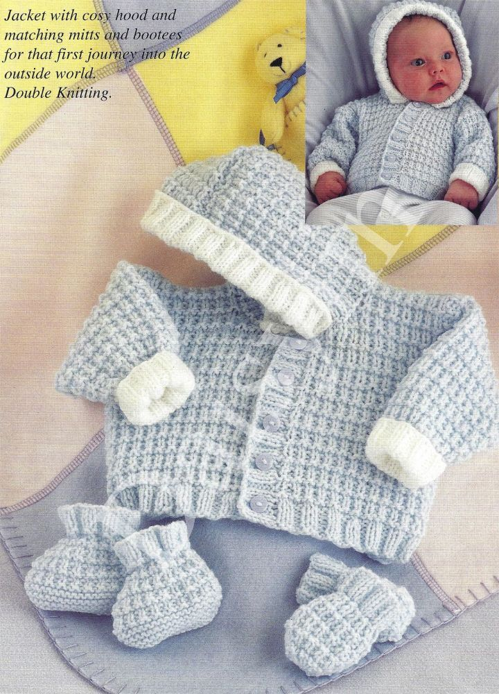Pdf Digital Knitting Pattern Premature Baby Or Dolls Hooded Jacket