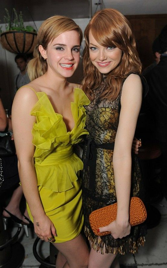 38141666a86 Emma Watson   Emma Stone. Both always have such beautiful hair makeup and  clothing and always so classy. Love them both!