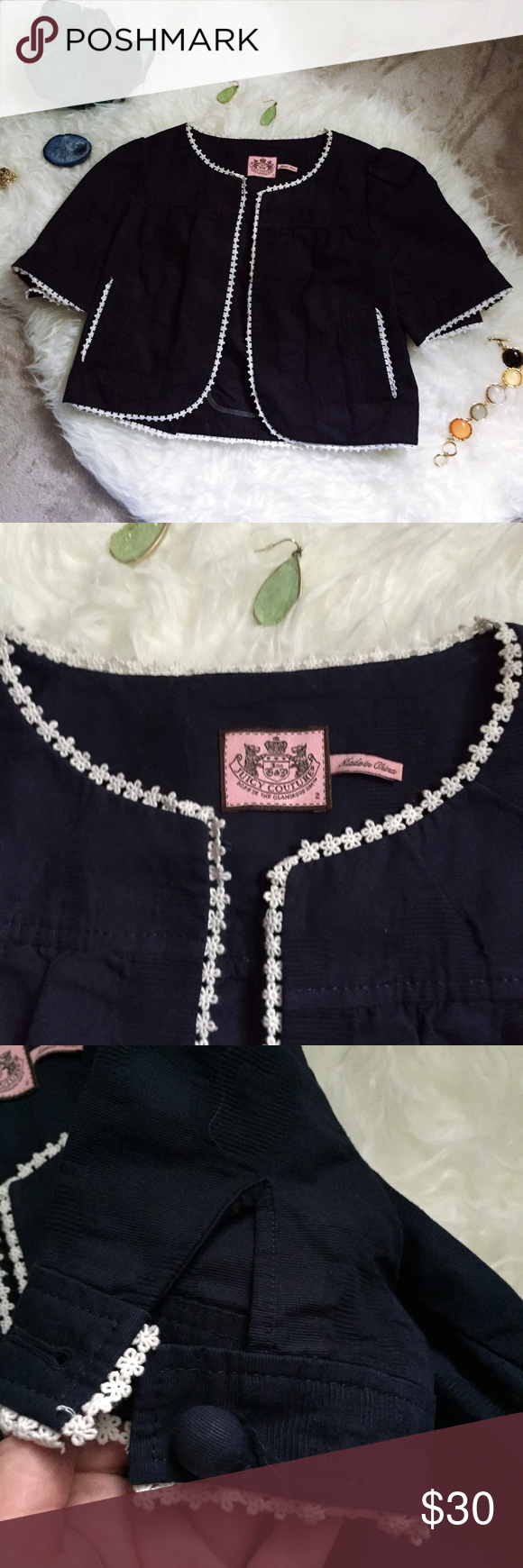 Juicy Couture floral trim shrug/jacket This is a lovely navy blue shrug with a flora trim by juicy couture. It is in excellent used condition. Has texturing throughout. Medium weight. Has buttons on the backs of the arms. Length is 16 inches, underarm to underarm is 17 inches. Juicy Couture Jackets & Coats