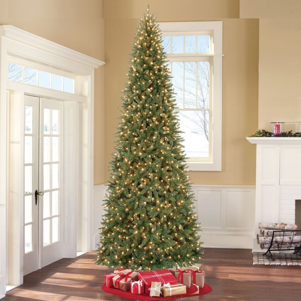 Slim Christmas Tree pre lit Artificial 12 Foot Home ...