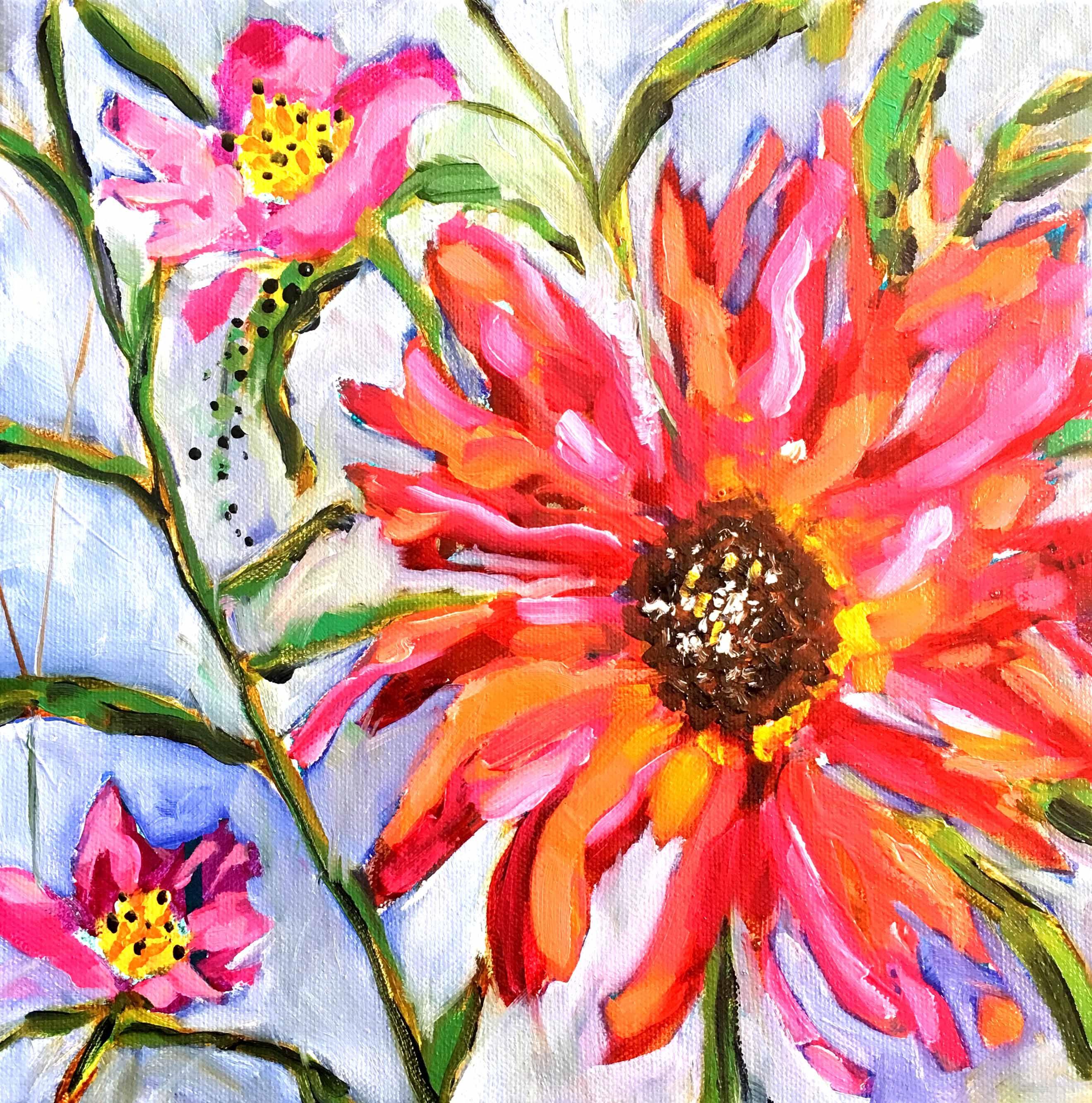 Vibrant abstract floral painting by Nina Ramos. Follow ...