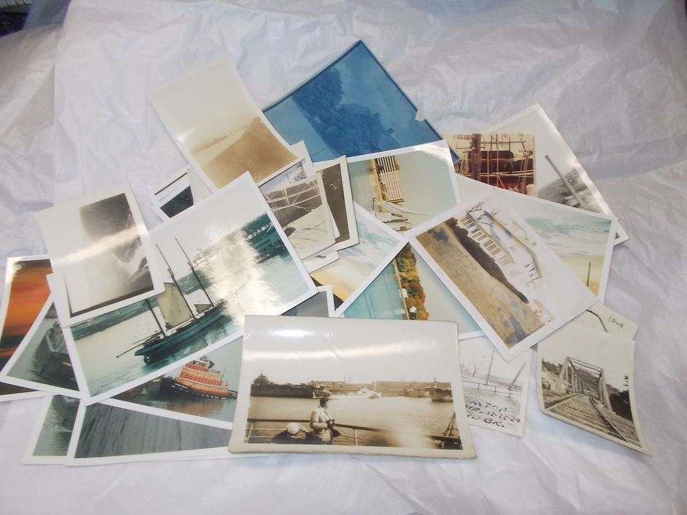 Mixed places and scenic vintage photos lot black and white color boats ships
