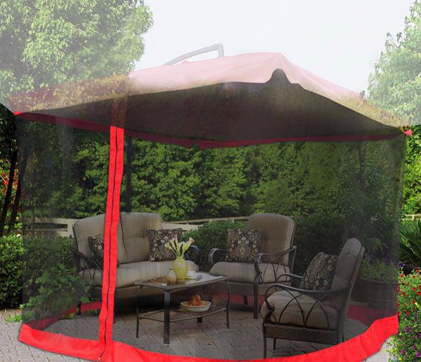 9 X9 Outdoor Patio Umbrella Mosquito Net Gazebo Top Netting Red