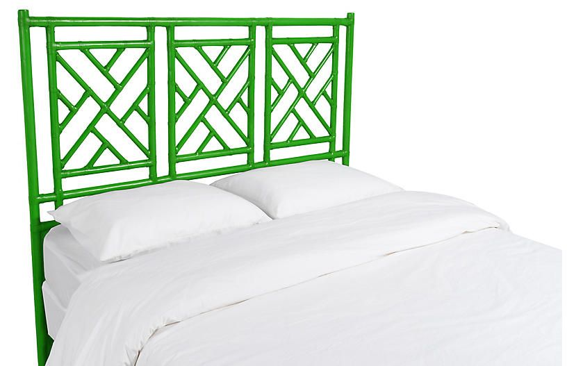 Chinese Chippendale Headboard Green