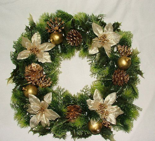 16 Inch Artificial Gold Poinsettia Holly Christmas Wreath For Indoors And Outdoors