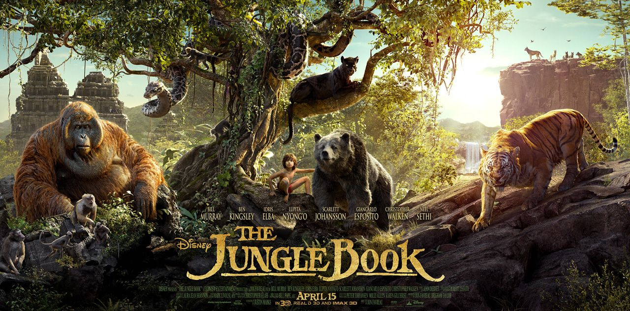 The cast of the jungle book posed with their onscreen animals books and disney pixar