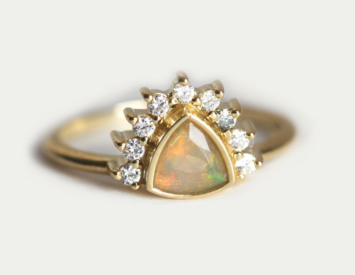 Opal Engagement Ring, Trillion Engagement Ring, Diamond Crown Ring, Opal  Ring With Diamond Crown, Yellow Gold Engagement Ring