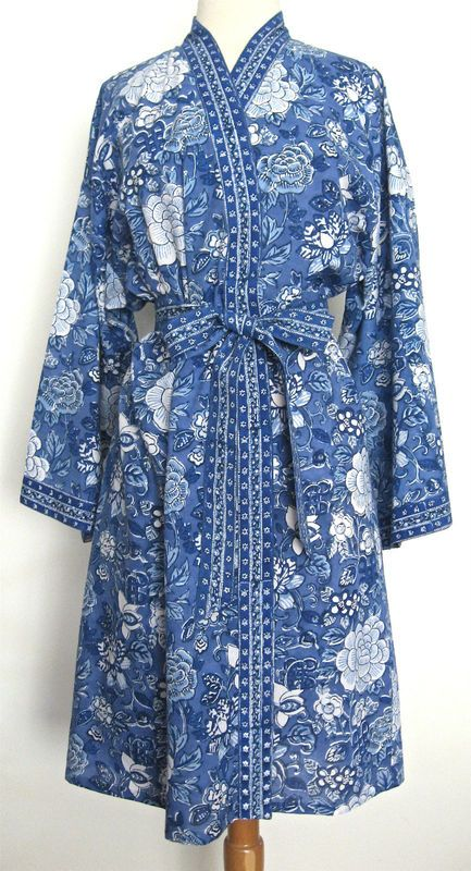 05dfd371bc Details about Blue Cotton Floral Robe women bride robe Dressing Gown ...