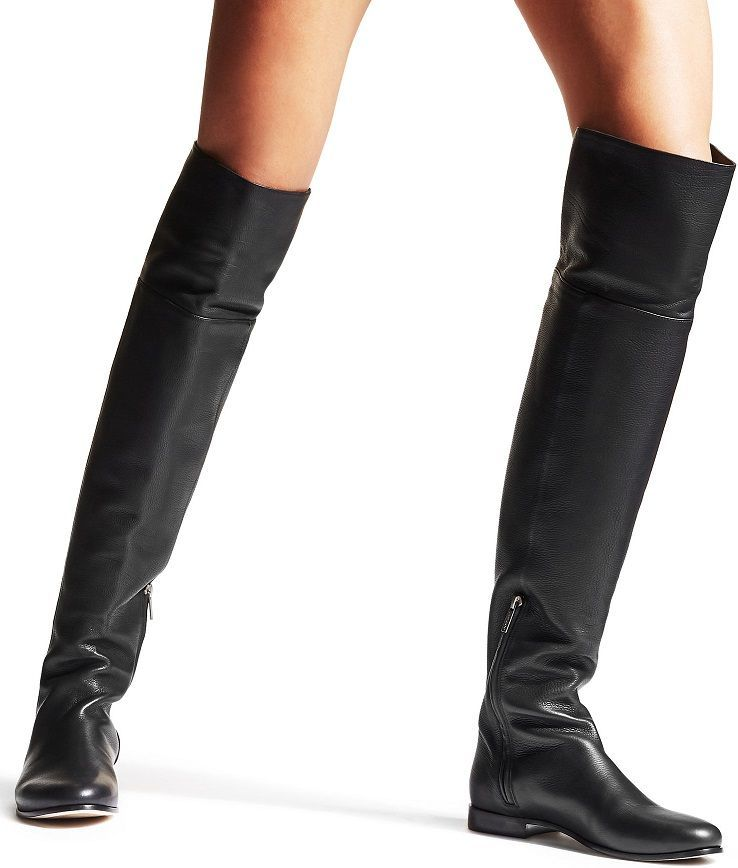 21ce33b20e41 Black Grainy Calf Leather Flat Over the Knee Boots - Constructed on a round  toe with a flat heel