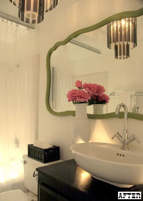 Bathroom: I adore the green mirror.