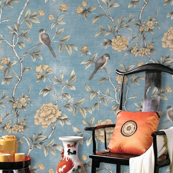 Chinese Style Classical Pastoral Flowers Birds Wallpaper