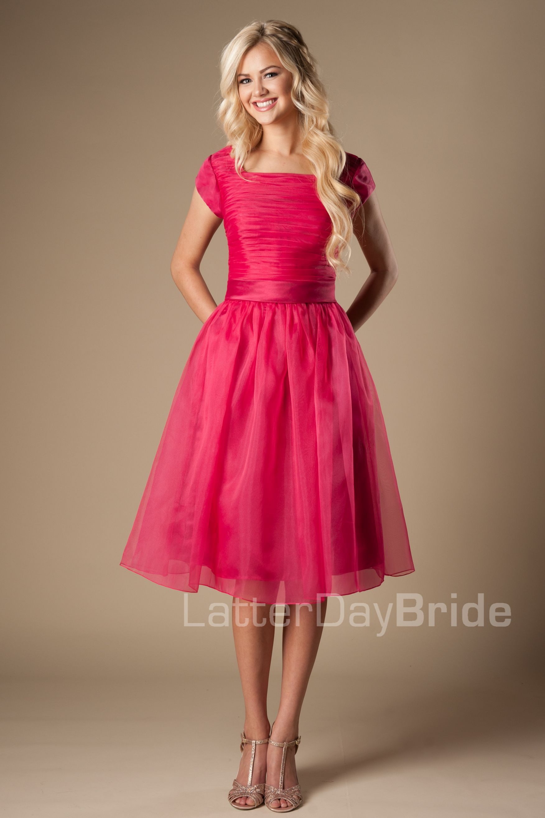 Latter Day Bride modest prom dress. pink, knee,length