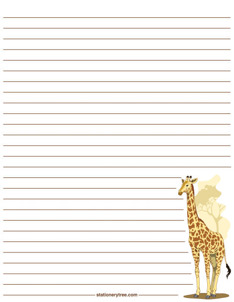 Printable Giraffe Stationery And Writing Paper. Multiple Versions Available  With Or Without Lines. Free