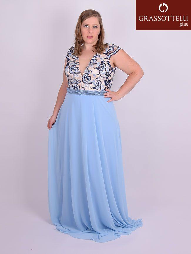 a89e0482b Vestido Longo Festa Tule Bordado e Chiffon Azul Plus Size em 2019 ...