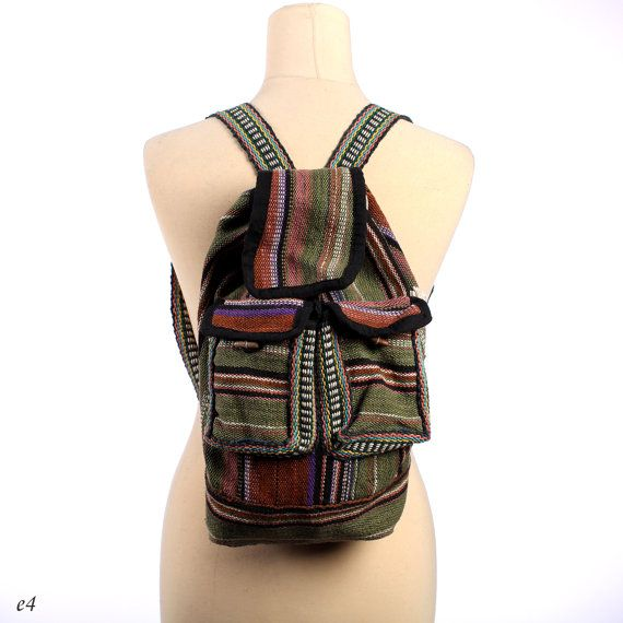 Woven Backpack . Aztec Backpack . by BetaVintageCasual on Etsy, $32.00
