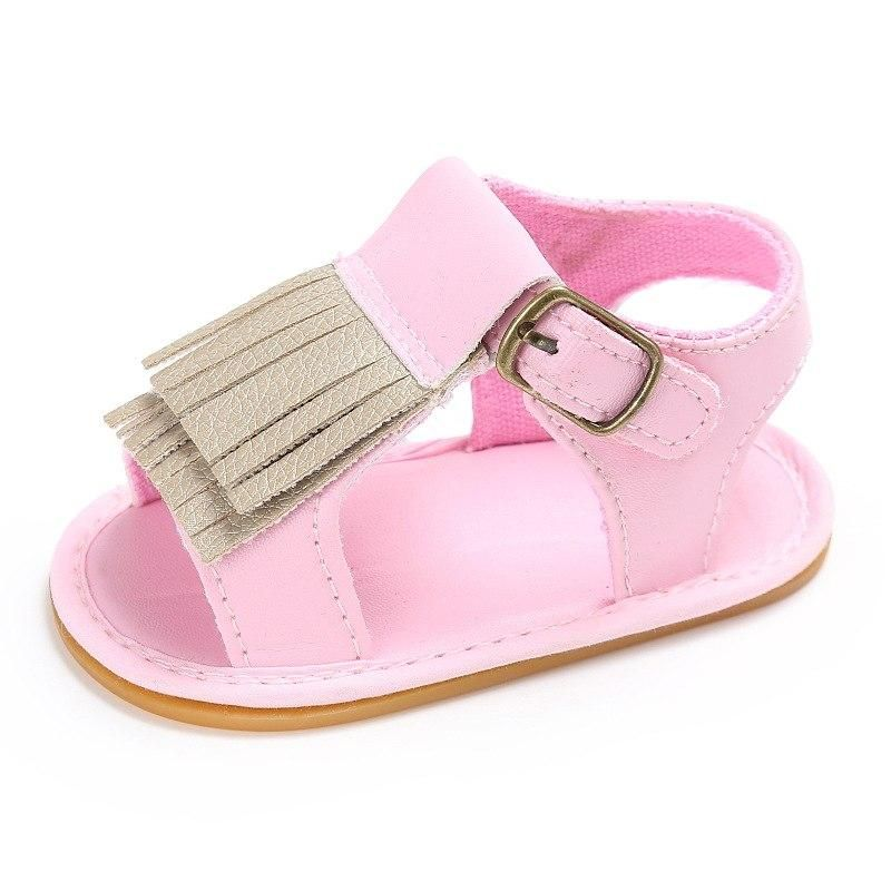 Toddler Baby Boy Girl Tassel Crib Shoes Leather Soft Sandals Non-Slip Prewalkers