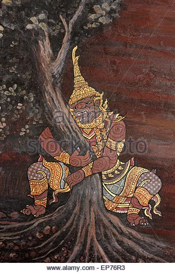 Thai Mural Painting In The Phra Rabiang (The Gallery) in Wat Phra Kaew (Temple of Emerald Buddha), Bangkok - Stock Image