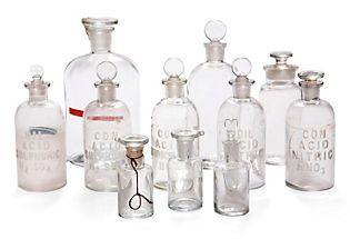 Vintage Laboratory Bottles - OMG love these. https://www.onekingslane.com/product/12772/587171