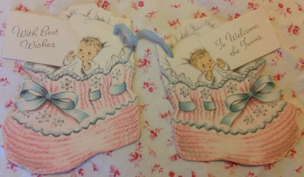 ~*~ Vintage 1940s UNUSED Baby Cards for Twins with Booties ~*~