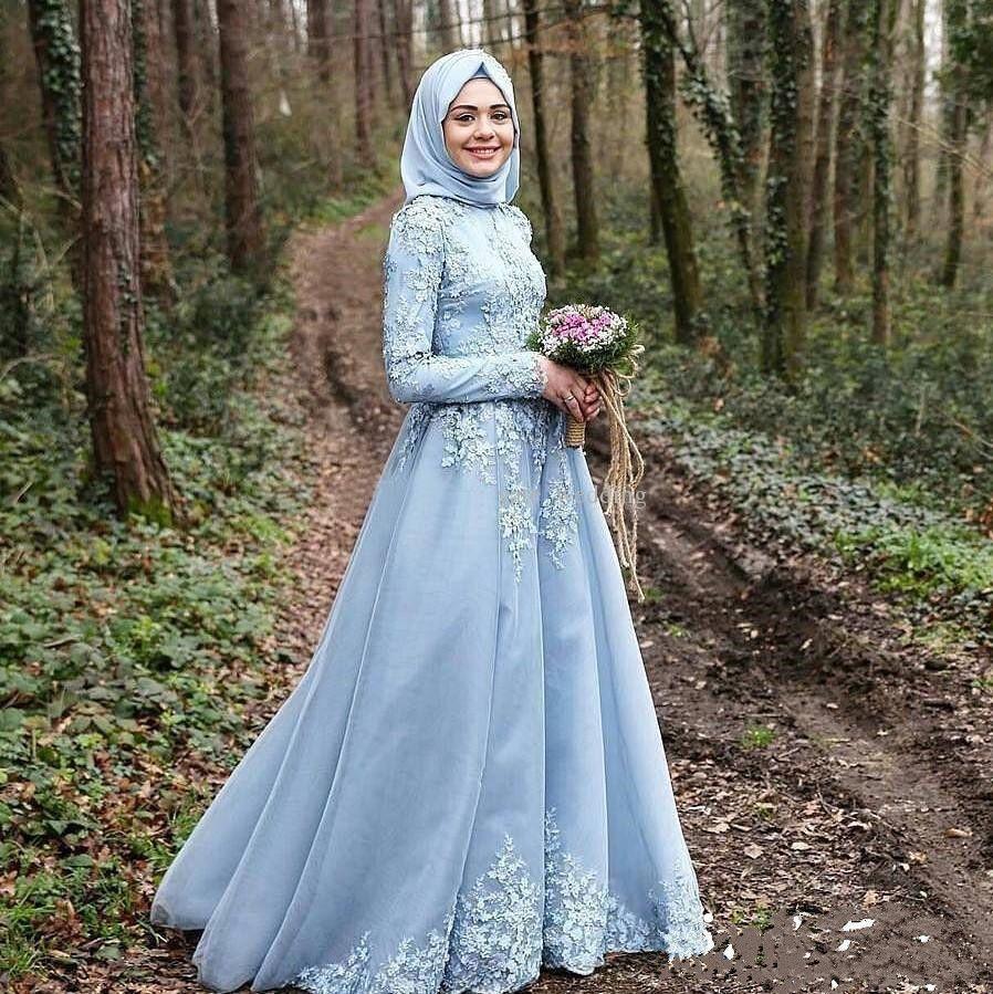 Cool amazing new arabic muslim sky blue wedding dress long