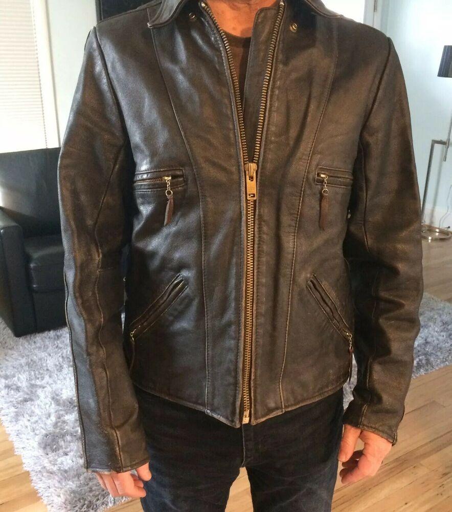 Mens Motorcycle Biker Vintage Distressed Black Faded Leather Jacket