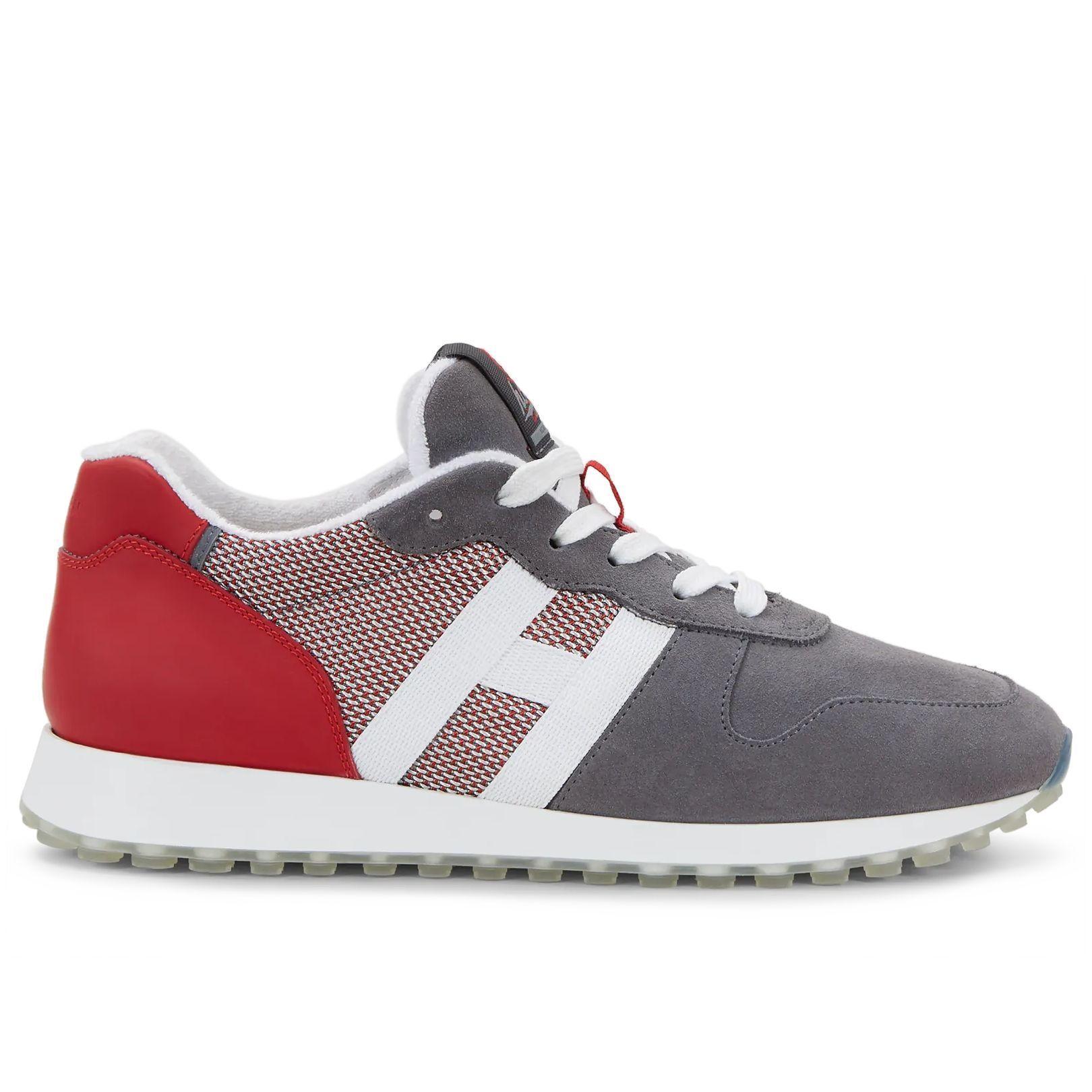 Sneakers uomo Hogan H383 grigie e rosse | Turnschuhe, Leder, Wildleder