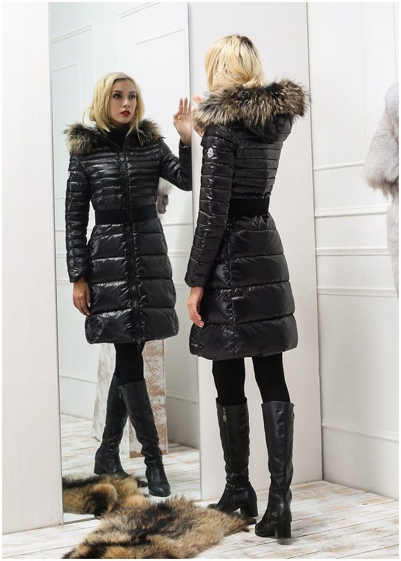 achter doudoune moncler manteau femme fourrure manches longues noir boutique officiel down. Black Bedroom Furniture Sets. Home Design Ideas