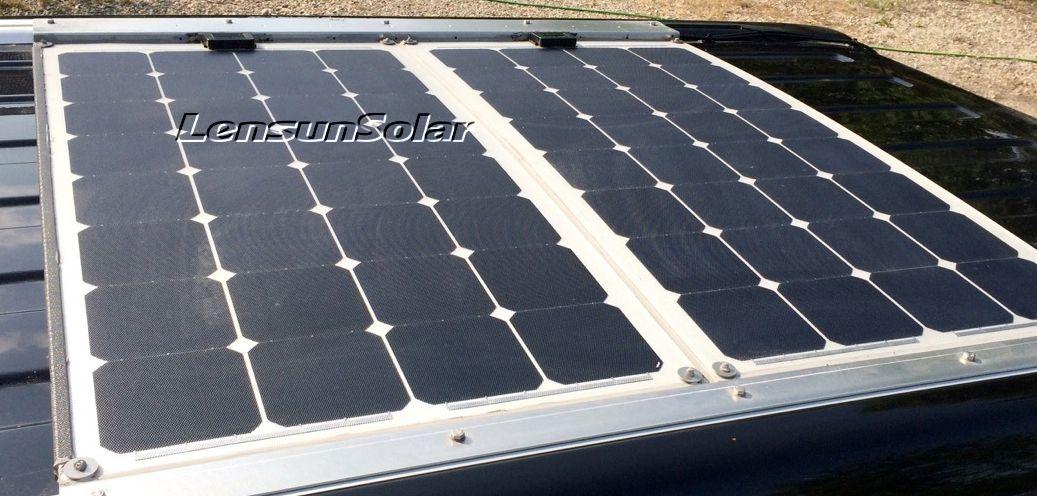 Lensun Aluminium Etfe Flexible Solar Panel On Caravan Motorhome Trial Rv Car Vw T4 T5 Flexible Solar Panels Solar Panels Solar