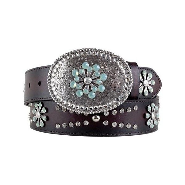 Women's Ariat Snowflake Belt - Chocolate Leather Leather Goods ($110) ❤ liked on Polyvore featuring accessories, belts, brown, brown belt, genuine leather belt, clear belt, ariat belt and swarovski crystal belt
