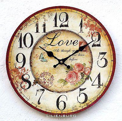 Uhr Wanduhr Rosen Blumen Nostalgie nostalgisch Küchenuhr Vintage