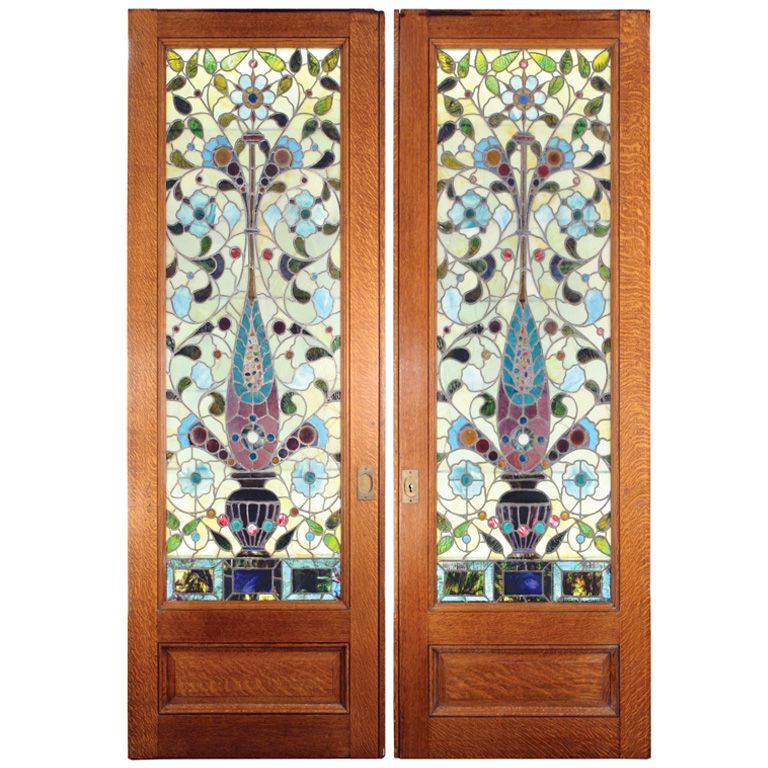 stained glass pocket doors