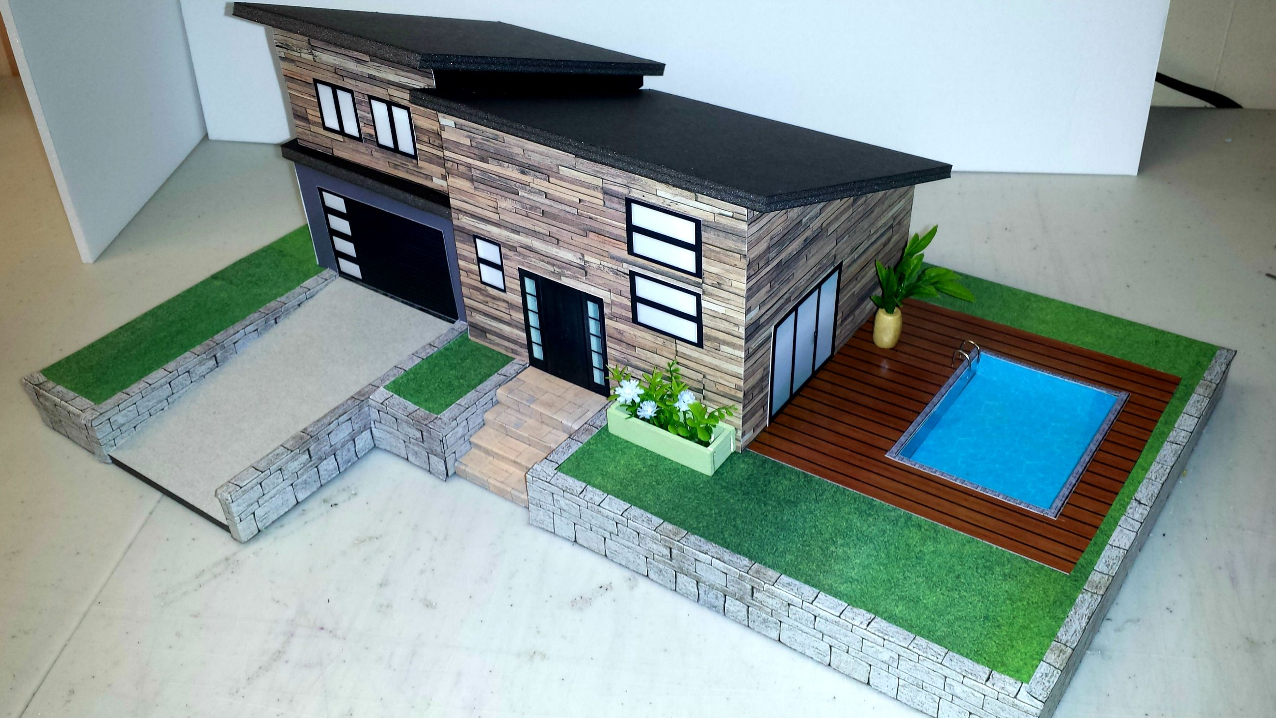 How To Make A Miniature Dollhouse With Swimming Pool Miniature Houses Doll House Swimming Pools