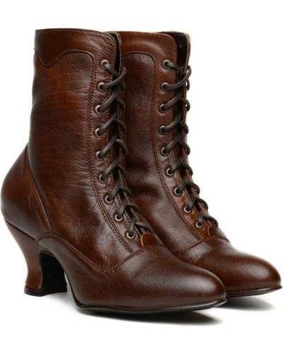 Victorian style boots by Oak Tree Farms Veil Kidskin Gold Rush Boots AT vintagedancer.com