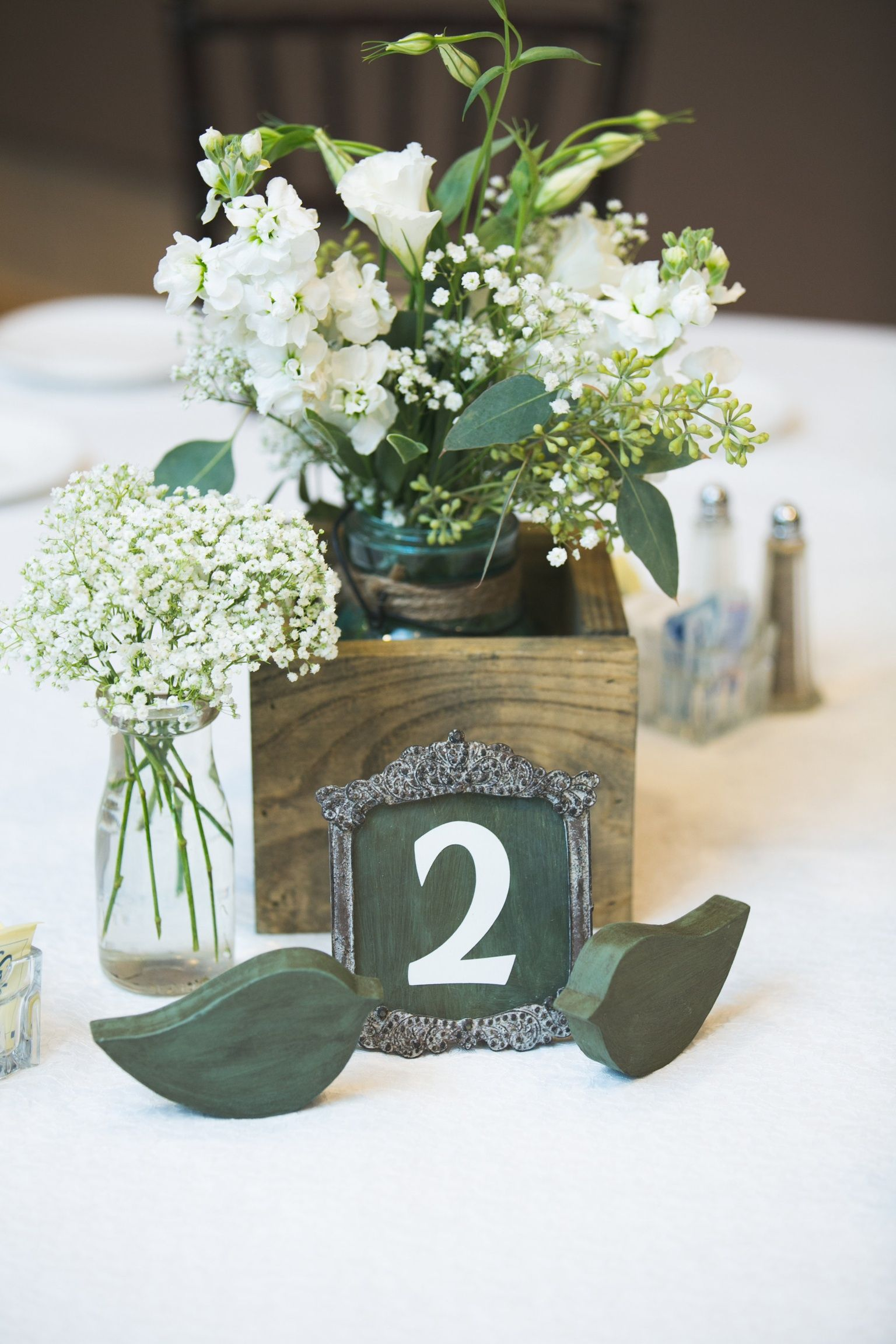 Simple White Stock Seeded Eucalyptus Babys Breath In Jars Wood