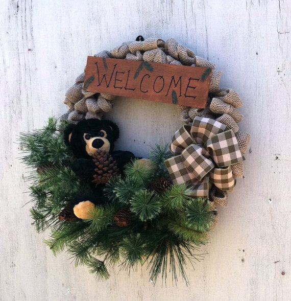 Cabin Decor Bear Decor Rustic Wreath Lodge By Countrycraftsnflower Bear Decor Rustic Bear Decor Hand Painted Wood Sign