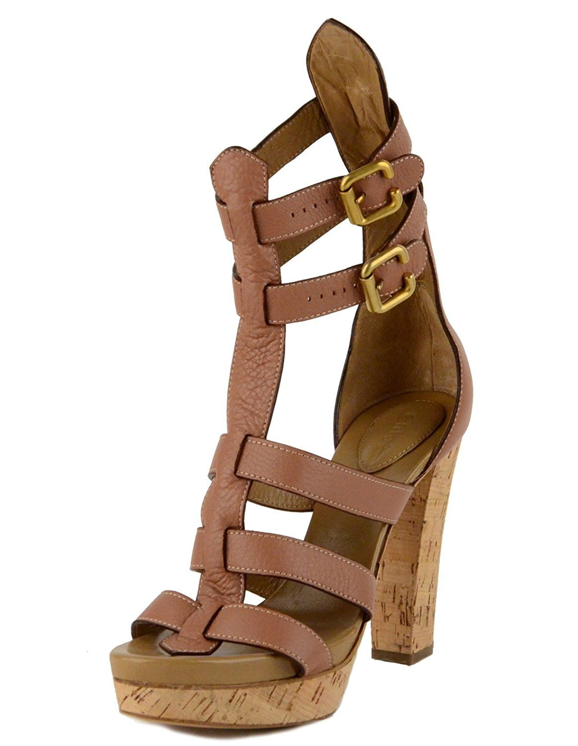 2aa2c58b2be4f Chloe Shoes Strappy Leather Sandals Gladiator Cork High Heels IT 40 US 9.5  -- Continue to the product at the image link. (Amazon affiliate link)