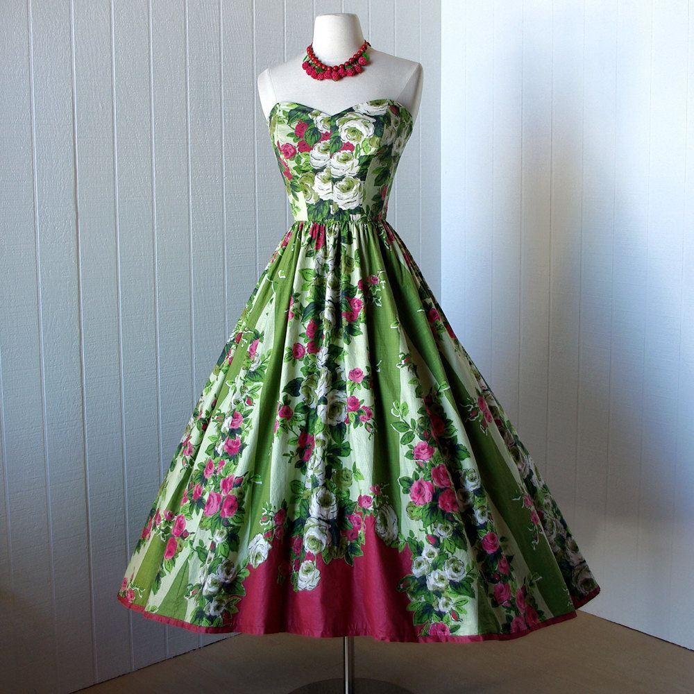 seriously. i need a spring garden party now. vintage 1950s dress ...