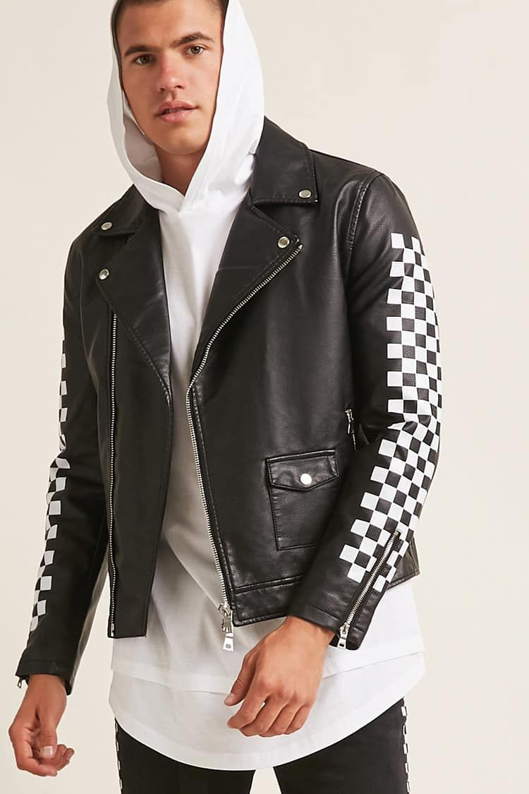 37debceb871f Product Name:Checkered Faux Leather Jacket, Category:mens-top-picks,  Price:39.9